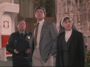 That's the mom from My So Called Life as a nun. At several points throughout the film, Bronson Pinchot channels her late ex-boyfriend as a very Jewy sounding man named Murray, who explains the plot when exposition is necessary.